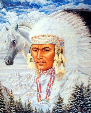 Indian Chief and Horse Native American Art Print Poster (16x20)