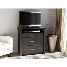 Home Entertainment Center of Altra Julian Media Dresser with Single Shelf and 3 Drawers, Black Ebony