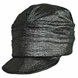 Luxury Divas Metallic Pleated Soft Newsboy Cap Hat