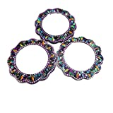 Purple Home Decor Floral Pattern Beaded Mirrors Crafted Material Lac Travel Set of 3 Pcs Glass Mirrors Cosmetic Handheld Vanity Mirrors
