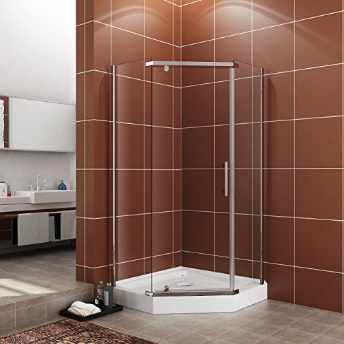Fit-to-38-x-38-Neo-Angle-Shower-Corner-Door-14-Glass-Frameless-Pivot-Door-Stainless-Steel-Door-Noly-Not-Included-Back-wall-Base