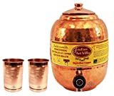 Indian-Art-Villa-Handmade-High-Quality-Pure-Solid-Copper-Water-Pot-Tank-Matka-Volume-55-Liter-with-2-Copper-Glass-Tumbler-Cup-Volume-300-ML-for-use-Storage-Drinking-Water-Restaurant-Hotel-Home-Ware-Gi