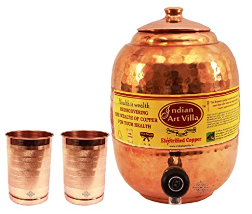 IndianArtVilla Pure Copper Handmade Water Pot Tank with Tap 5500 ML with 2 Glass 300 ML each - Storage Serving Water Home Hotel Restaurant Good Health Benefit