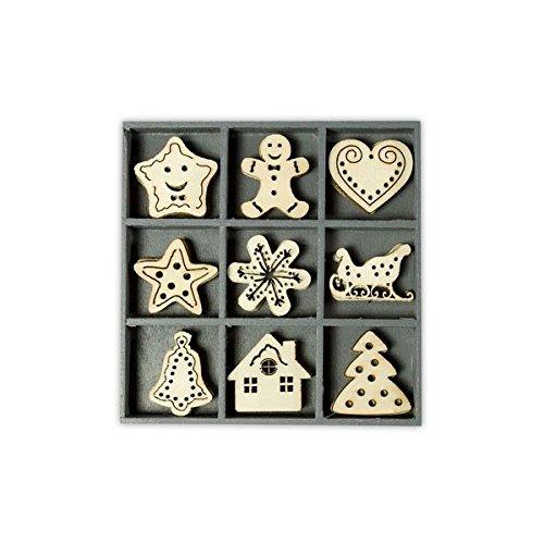 cArt-Us 10.5 x 10.5 cm Wooden Box Containing 25 Sweet Xmas Embellishments
