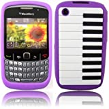 Piano Silicone Case Cover Skin For Blackberry 8520 9300 Curve / Purple