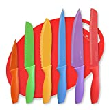 Kitchen Knife Set plus BONUS Cutting Board and FREE Knife Skills eBook. Includes Chef Knife, Paring Knife, Carving, Utility, Santoku and Bread knives.