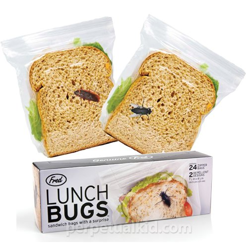 Fred FFLBUG Lunch Bugs Sandwich Bags, 24 Bags in 2 Designs - 1