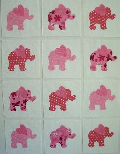 12 Applique Pink Elephant with Heartshaped Ears Quilt Blocks 6.5 Inch Squares