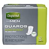 Depend Guards for Men, Maximum Absorbency Incontinence Protection, 52-Count