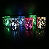 WhitePavo Flickering LED TeaLight Candles - Multi Color Changing Flame With Dark Blonde Climber Designer Paper...