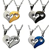 "D&J Jewelry Titanium Stainless Steel Double Split Heart Pendant ""I Love You"" Engraved Promise Lovers Necklaces"