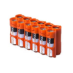 Storacell by Powerpax AA 12 Pack Battery Caddy, Orange - Holds 12 AA Batteries