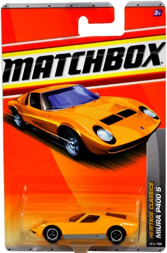 Matchbox MBX Heritage Classics Series 1:64 Scale Die Cast Car #14 - Yellow Color High Performance 2-Seater Mid-Engined Sports Coupe Lamborghini MIURA P400 S