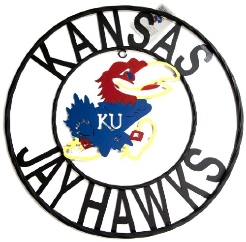 NCAA Kansas Jayhawks Collegiate Wrought Iron Wall Decor, 18-Inch, Black/Crimson and Blue