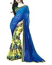Yug Bansal Women's Yellow and Blue Chiffon Saree
