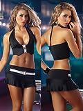 Rhinestone Mini Skirt Sexy Black Set - SMALL