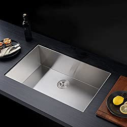 KES 32-Inch Kitchen Sink Stainless Steel Single Bowl Undermount Deep 16 Gauge Zero Radius with Drain Stainer Basket and Bottom Grid Protector 32 x 19 x 10 Inch European Contemporary Style, UB8148-C1