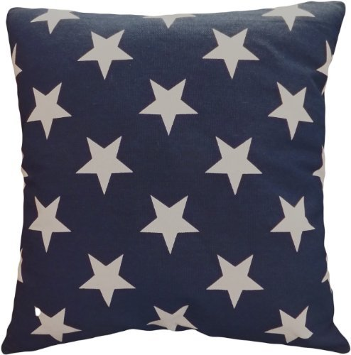 "Decorative Printed Star Floral Throw Pillow Cover 18"" Navy"