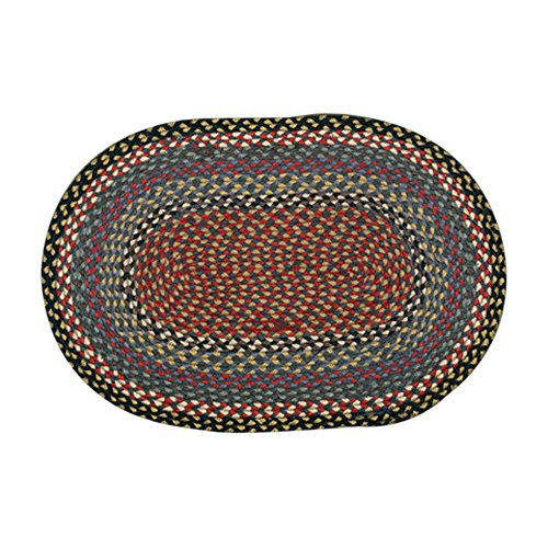 Earth Rugs 05-043 Oval Rug, 2 x 8', Burgundy/Blue/Gray