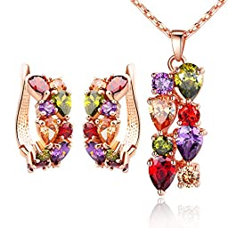 Bamoer Christmas Day Gifts Mona Lisa Colorful Swarovski Elements Crystal CZ Bridal Wedding Necklace and Earrings Jewelry Sets with Box Gift for Women Girls Teen
