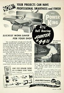 1949 Ad Power King Atlas Press Tools Jointer-Planer 142 Pitcher St Kalamazoo - Original Print Ad