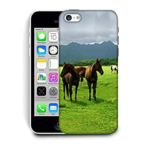 Snoogg White Horses Printed Protective Phone Back Case Cover For Apple Iphone 6+ / 6 Plus