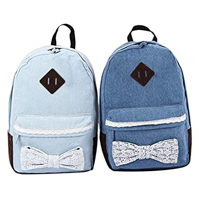 S-ZONE Demin Cloth Lace Butterfly Knot Fashion Sweet Cute Style Cross Shoulder School Bag BackPack Rucksack for Teenage Girls