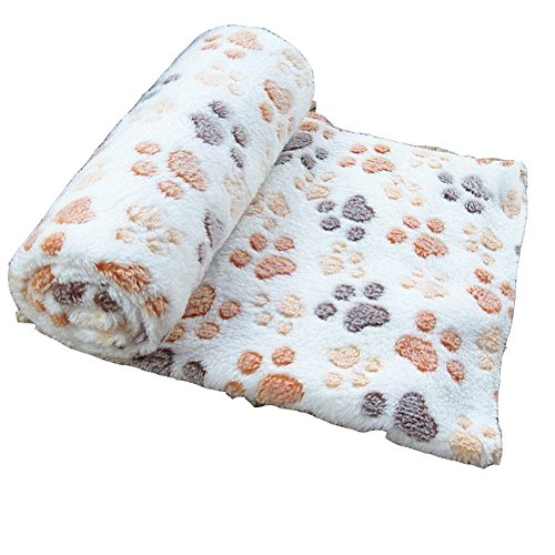 Sunlilee Paw Print Thick Warm Fleece Soft Pet Blanket Dog Puppy Sleep Beds Mat Pet Cat Cushion (Beige,Large)