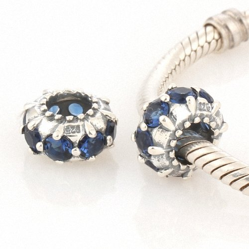 Taotaohas-(1Pc) Oxidized Antique 100% Solid Sterling 925 Silver Charm Beads Made With Swarovski Elements Crystal Czech Rhinestone, [ Name: Rolling Stars, Stone Color: Dark Ingido ], Fit European Bracelets Necklaces Chains, Troll, Biagi Glass Charm Beads