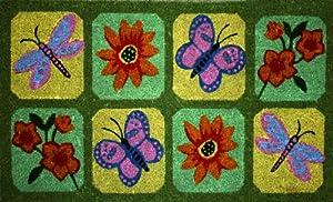 STC Paillasson Touffeté à la main Base antidérapante Fleurs/Papillons 45 cm x 75 cm