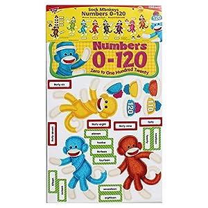 Trend Enterprises Sock Monkeys Numbers 0-120 Bulletin Board Set (T-8298)