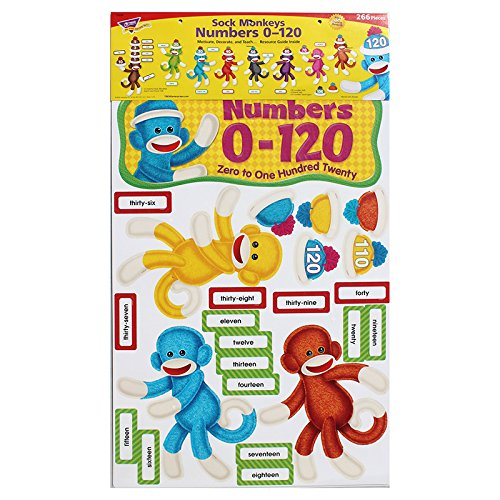 Trend Enterprises Sock Monkeys Numbers 0-120 Bulletin Board Set (T-8298)