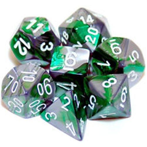 Polyhedral 7-Die Gemini Dice Set: Green & Steel W/White (D4, D6, D8, D10, D12, D20 & D00)