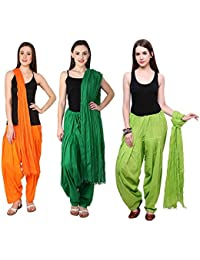 Fashion Store Combo Of Womens Solid Cotton Orange ,Green & Parrot Green Best Ethnic Comfort Punjabi Patiala Salwar...
