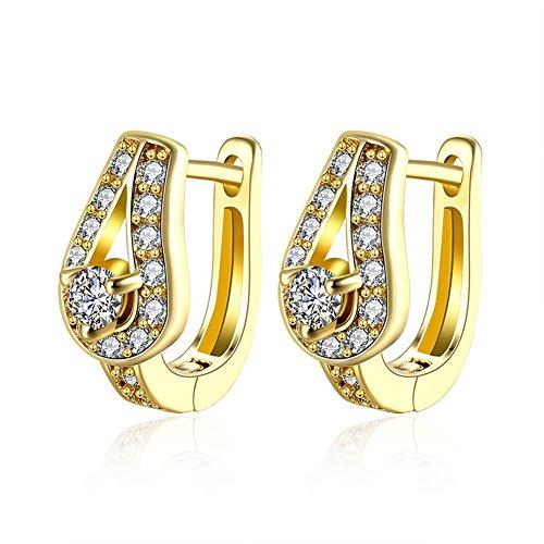 [Women U-Shape Hoop Earring Fashion Wedding Jewelry Gold-Plated Inlay Cubic Zirconia -RebeccaSeller] (Homemade Bee Costumes Halloween)