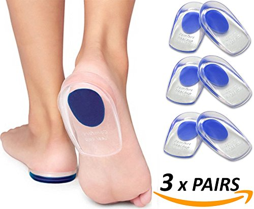 Armstrong Amerika Heel Pain Inserts Silicone Gel Insole Pads Heel Cups Protectors for Plantar Fasciitis Sore Feet Bruised Heel Foot Pain Bone Spurs Treatment & Relief Gels (Large) (Shoe Inserts For Heal Pain compare prices)