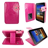 Aquarius® CEO Leather Buckle Open Wallet Case Cover for Samsung Galaxy Tab 2 7.0 P3100/P3110/P6200 Android Tablet with Debit/Credit/Oyster Card Holder and Viewing Stand Feature and Built in Holder/Housing - Hot Pink