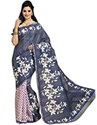 Floral Printed Cotton Saree in Blue & White KS351