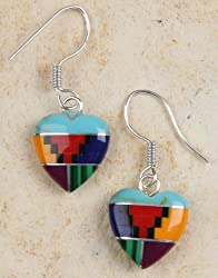 Earrings - Mosaic Gemstone Hearts