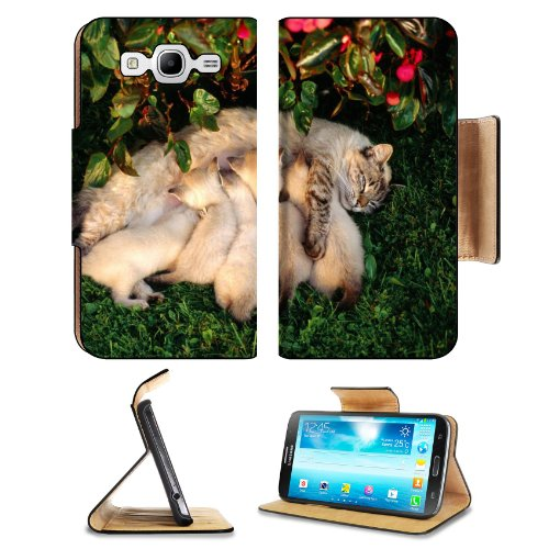 Mother Cat Kittens Drinking Milk Samsung Galaxy Mega 5.8 I9150 Flip Case Stand Magnetic Cover Open Ports Customized Made To Order Support Ready Premium Deluxe Pu Leather 6 1/2 Inch (165Mm) X 3 2/5 Inch (87Mm) X 9/16 Inch (14Mm) Liil Mega Cover Professiona
