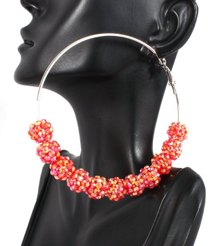 Basketball Wives Red Shamballah 3 Inch Hoop Earrings with 12 Disco Balls Poparazzi