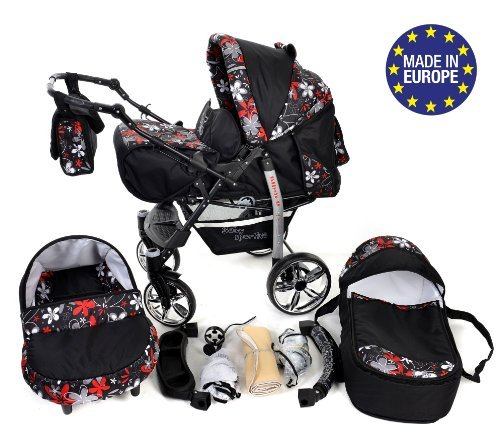 3-in-1 Travel System incl. Baby Pram with Swivel Wheels, Car Seat, Pushchair & Accessories, Black & Small Flowers