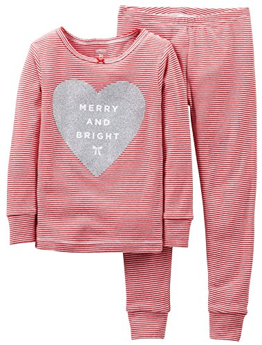 Carter'S Little Girls' 2 Piece Striped Holiday Pajamas (18 Months, Red) front-936248