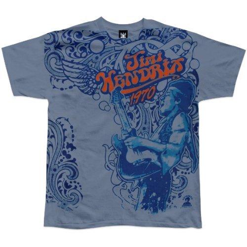 Old Glory Mens Jimi Hendrix - Paisley Haze Soft T-Shirt - Large Light Blue