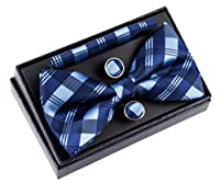 "Tartan Check Patterns Woven Pre-tied Bow Tie (5"") w/ Pocket Square & Cufflinks Gift Set"