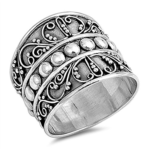 Bali-Bead-Wide-Fashion-Ring-New-925-Sterling-Silver-Thin-Band-Sizes-5-12