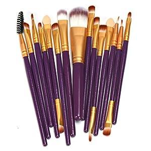 Brush,Lisingtool 15 pcs Wool Make Up Brush Set (Purple)
