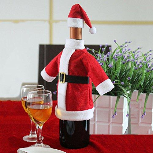 Copertura Della Bottiglia di Vino di Natale, Kwock Carino Vino Rosso Borsa in Cotone Bottiglia per i Rifornimenti Dinner Party Decor Table (Copre la Decorazione