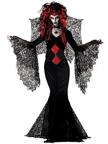 Gothic Costume Black Widow Spider 2 Piece Set Womens Long Gown and Web Wings