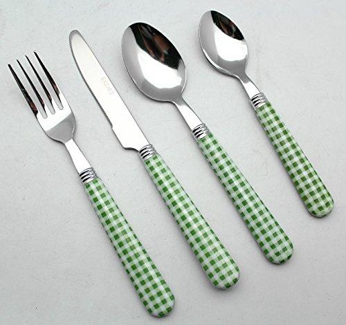 EXZACT Colore Posate in acciaio inox set 24 pz - 6 x Forchetta, 6 x Coltelli, 6 x Cucchiai Cena, 6 x Cucchiaini (Verde)